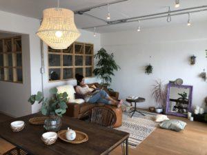 新所沢の埼玉住建 デザインにこだわったリフォーム.リノベーション 空間演出 マンションフルリノベーション ホームステージング リビングダイニング BOHOスタイルの写真